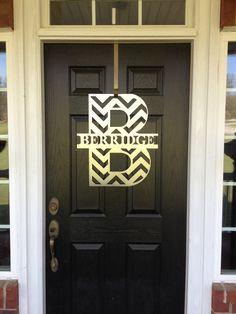 Chevron Front Door Wreath Chevron Monogram Door by housesensations