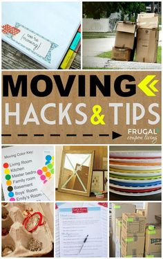 Top 50 Moving Tips and Hacks  for your home relocation or new house ideas. Details and Round-Up on Frugal Coupon Living.  Homematchnw.us #homesellingtips