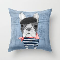 Frenchie with Arc de Triomphe Throw Pillow by Barruf - Cover x with pillow insert - Indoor Pillow Throw Pillows Bed, Bed Throws, Designer Throw Pillows, Down Pillows, Floor Pillows, Decorative Throw Pillows, Childrens Throws, Toy Bulldog, Buy French Bulldog
