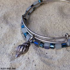 ALEX AND ANI conch shell charm bangle and bluebell gleaming beaded bangle!