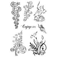 Karten-Kunst Clear Stamp Set Florale Schnörkel