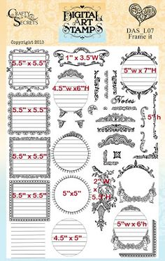 Frame It is now a $9.95 Digital download and revised to include more ready to use frames and each file is a PNG so they are transparent and can digitally dragged and dropped onto different backgrounds and the decorative embellishment's can accent all kinds of projects.