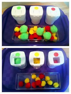 Pom Pom sorting tot tray with empty gum containers. I have had this idea in the back of my mind for the longest time & I finally put it together! My 2 year old loves this one! Activities For 2 Year Olds, Autism Activities, Montessori Activities, Infant Activities, Sorting Activities, Toddler Fun, Toddler Learning, Learning Time, Tot Trays