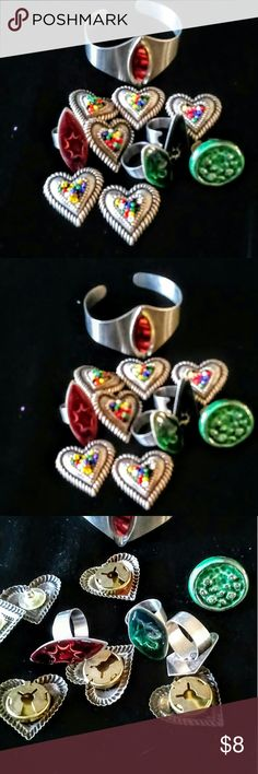 Costume Jewelry Costume Jewelry Lot.  Bracelet Rings and earrings. Everything is included.  I just love the colors.  It can be used to repurpose. Jewelry Bracelets