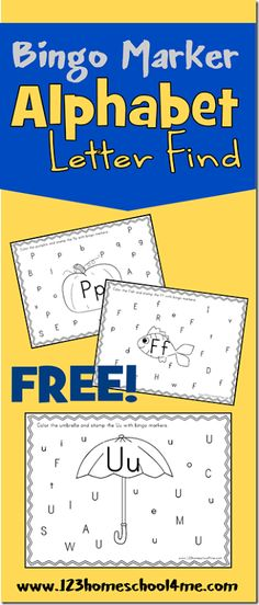 123 Homeschool 4 Me has FREE Bingo Marker Alphabet Letter Find Printables. These great worksheets will help your child practice letter recogni