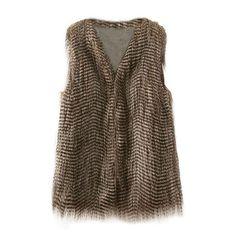 Striped Faux Fur Vest ($36) ❤ liked on Polyvore featuring outerwear, vests, fur, striped vest, vest waistcoat, fake fur vest, brown waistcoat and brown vest