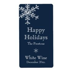 Holiday Glamour Wine Label (blue)