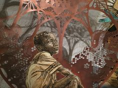 """Motherlands"" Installation detail. Hanging linoleum block prints and cut mylar. Galerie LJ, Paris, 2014 Caledonia Curry / Swoon"