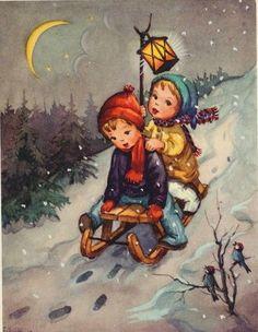 Vintage Christmas illustration -- illustrated by Liselotte Fabig Distling (German, -- ? Vintage Christmas Cards, Christmas Pictures, Xmas Cards, Vintage Cards, Vintage Postcards, Holiday Cards, Illustration Noel, Christmas Illustration, Illustrations