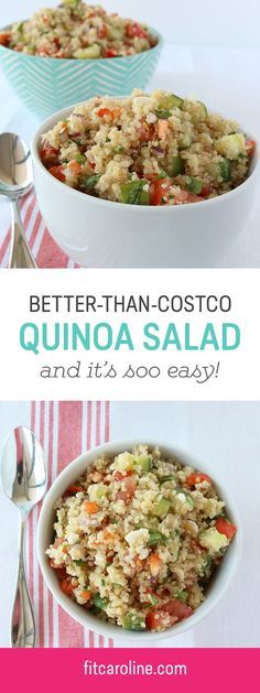 So easy and so delicious Costco copycat quinoa salad. Great for meal prepping on Sundays. Healthy dinner with a ton of protein. Vegetarian.