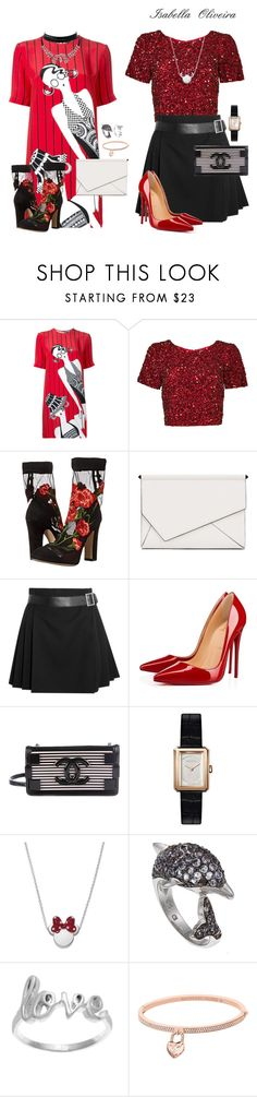 """👸🏻❤️"" by bellaisa34 ❤ liked on Polyvore featuring Holly Fulton, Parker, Dolce&Gabbana, Kendall + Kylie, Alexander McQueen, Christian Louboutin, Chanel, Disney, La Preciosa and Michael Kors"