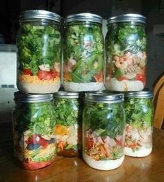 Mason Jar Salads.. 1)Dressing on the bottom, lettuce on the top. If the two are touching the lettuce will turn to slime. 2) Store in fridge for up to a week 3) When ready to eat: shake jar, place on a plate, and eat!