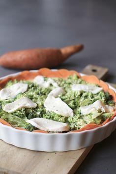 Broccoliquiche met zoete aardappelbodem en mozzarella, Gezonde quiche, Glutenvrije quiche, Beaufood recepten, Gezonde foodblogs, Slanke lunchrecepten, Lunchen zonder brood