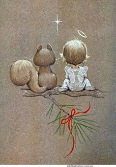 vintage retro Christmas angel and squirrel, Artist: Ruth Evans Morehead Vintage Christmas Cards, Christmas Pictures, Christmas Angels, Christmas Art, Vintage Cards, Christmas Decorations, Christmas Ornaments, Xmas, Christmas Thoughts