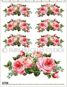 so many beautiful decals on this site....cant wait to place my order!!!! www.fairy-freckles.com....love, love, love!!! Rose Embroidery, Embroidery Designs, 3d Sheets, Rose Bouquet, Rose Buds, Freckles, Cant Wait, Pink Roses, Decoupage