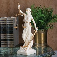 White Themis Greek Goddess Blind Justice Bonded Marble Statue Sculpture