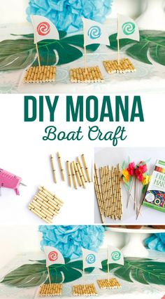 Make your own DIY Moana Boat Craft! This kids' craft is a great activity to do with kids during a Moana Birthday Party. See how @craftingchicks made this fun craft with just a few supplies. #diy #diyproject #craft #moana