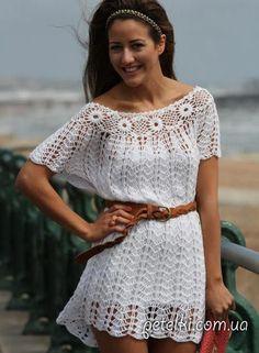 Красивое летнее платье крючком. Схемы вязания