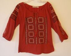 Solitaire, peasant style embroidered tunic, size large #Solitaire #Tunic