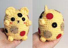 Pizza Bear Plushie -Custom Pizza Crochet Teddy Bear by marchoftheblacksheep on Etsy! #pizza #kawaii #pizzagifts #pizzalover