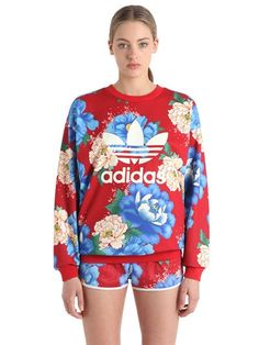 Flower Printed French Terry Sweatshirt In Red/blue Cute Sweatshirts, Printed Sweatshirts, Hoodies, Farm Women, Nike, French Terry, Flower Prints, Adidas Originals, Red And Blue