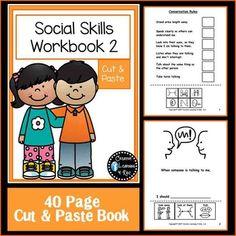 Cut & Paste Social Skills Workbook 2This workbook gives your child a hands-on interactive learning experience, with 40 pages. Social Skills include: Conversation RulesEveryday Social SituationsIncluding important Safety Issues This Cut & Paste workbook can help your child learn what to say and or do in everyday situations at school and at home.
