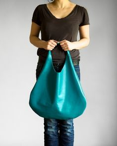 Turquoise  Leather Hobo Bag by patkas on Etsy, $115.00