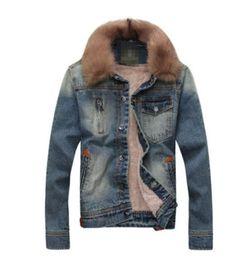 Mens-Fur-Collar-Broken-Denim-Jacket-Slim-Short-Padded-Winter-Fashion-Windbreaker