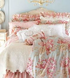 floral bedroom shabby and shabby chic on pinterest blue shabby chic bedding