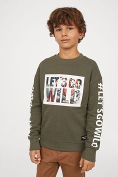 Sweatshirt with Printed Design - Khaki green - Kids | H&M US 1