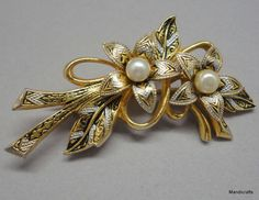 #Brooch #Damascene Lily Flower Pin Pearl Accents Gold Silver Black 2in Unbranded #LilyFlowers