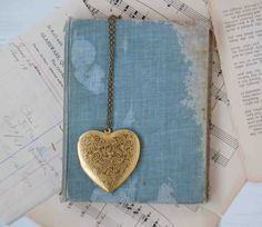 Large Gold HEART Locket Pendant Vintage Style by redtruckdesigns, $42.00