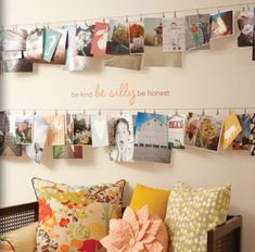 .I have always wanted a picture wall in my future house. something where the pictures can change frequently like that. Although I was thinking corkboard or fabric covered corkboards.