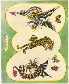 "Work by Don Ed Hardy ""One person's tattoo is nobody else's business."" tattoo for men tattoos tattoo tattoo japones tattoo tattoo traditional Traditional Tiger Tattoo, Traditional Tattoo Old School, Traditional Tattoo Design, Traditional Flash, American Traditional, Christian Audigier, Ed Hardy Tattoos, Don Ed Hardy, Tattoo Flash Sheet"
