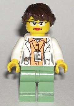 Nurse Girl NEW Lego FEMALE DOCTOR Hospital Minifig w//White Lab Coat Shirt Torso
