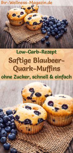 Saftige Blaubeer-Quark-Muffins ohne Zucker: Einfaches Low-Carb-Rezept für schnelle Muffins mit Blaubeeren, Quark, Mandelmehl, etc. - fruchtig, leicht, gesund, kalorienreduziert und lecker zum Frühstück oder Nachmittagskaffee .. #muffins