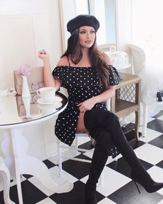 It's been a pretty hectic week with Christmas coming up as well as planning and packing for a family vacation! So not even a month ago I decided that it was time to start… Black Berets, Black Polka Dot Dress, Dress Black, Black Thigh High Boots, Shabby Chic Decor, Dark Hair, Thigh Highs, Anastasia Beverly, Beverly Hills