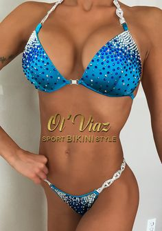 Blue Spandex Competition Bikini Suit with by OlViaz on Etsy