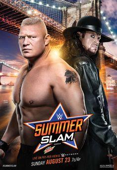 WWE summerslam 2015 poster - SummerSlam (2015) - Brock Lesnar and The Undertaker .