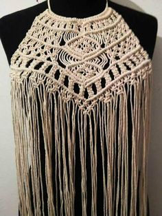 Excited to share the latest addition to my #etsy shop: Hand-knotted Macrame Top http://etsy.me/2CX0Q8a #clothing #women #shirt #beige #macrame #macrametop #dress #weddingdress #weddinggown