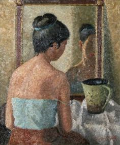 Yasuo Kuniyoshi - Woman in front of mirror (1945)