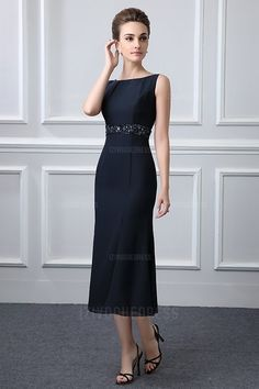 On the hunt for a dress like this for my daughter's wedding in Oct. Want classic look in dark navy. Sheath/Column Bateau Neck Tea-length Mother of the Bride Dress With Beading Mother Of Bride Outfits, Mother Of Groom Dresses, Bride Groom Dress, Bride Gowns, Mothers Dresses, Mother Of The Bride Dresses Tea Length, Wedding Dress Separates, 2 Piece Wedding Dress, Mob Dresses