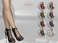Madlen Doha Shoes New sexy lace up shoes! These will make your sim irresistible. Come in 9 colours (leather texture). Joints are perfectly assigned. All LODs are replaced with new ones. You cannot change the mesh, but feel free to recolour it as long...