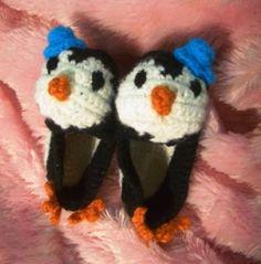 Penguin Baby Booties | AllFreeCrochet.com