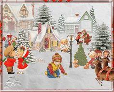 Новый год 2012, поздравительная картинка, новогодняя анимация Дети играются во дворе, зима, снег