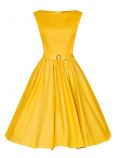Yellow, Vintage, Sleeveless, Midi Dress, Party Dress
