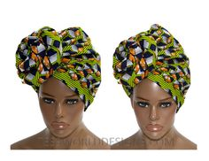 Extra long African Print headwraps/ Green by TessWorldDesigns