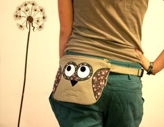 Floral Owl fanny pack belt bag tan with pink and by ritaboth121, $38.00