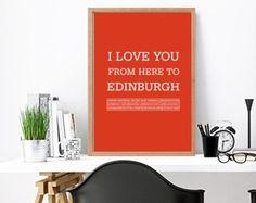 Edinburgh, Edinburgh print, Edinburgh city poster, Edinburgh art print, Love Edinburgh, Edinburgh print, travel poster by ArtMii Edinburgh City, I Love You, My Love, Travel Posters, Trending Outfits, Art Prints, Etsy, Art Impressions, Te Amo
