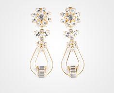 Boucles d'oreilles en cuir Saffiano et cristaux Ornements en métal doré prada